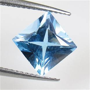 2.80 Ctw Natural Blue Topaz Princess Cut