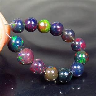 5.83 Ctw Natural 13 Drilled Black Fire Opal Ball Beads