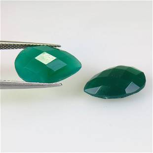 10.55 Ctw Natural Green Onyx Pear Checkerboard Pair