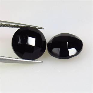 6.80 Ctw Natural Black Onyx Round Checkerboard Pair
