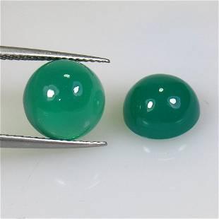8.11 Ctw Natural Green Onyx Round Pair