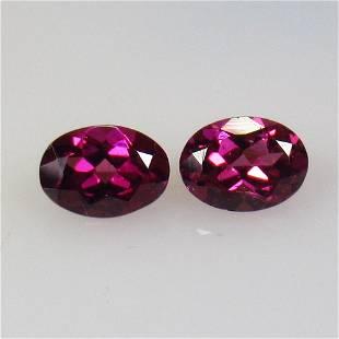 1.93 Ctw Natural Pink Rhodolite Garnet Oval Pair