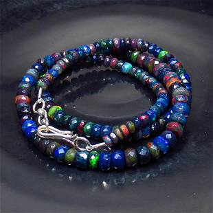 52.26 Ctw 925 Silver 144 Black Fire Opal Beads Necklace