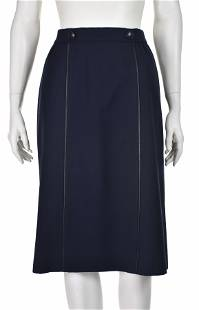 HERMES Vintage Navy Blue Wool Gabardine Skirt with