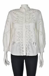 OSCAR de la RENTA White Cotton Battenberg Lace Shirt