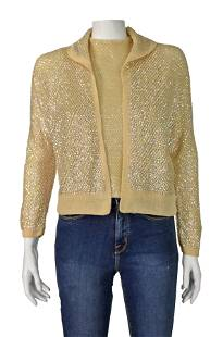 1950s Italian Knit Fully Sequined Twin Set Cardigan &