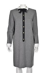 LUISA SPAGNOLI Gray Wool Shift Dress with White Collar