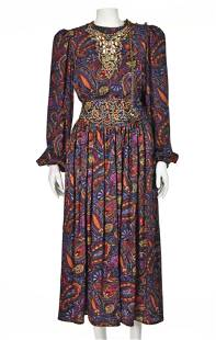 OSCAR de la RENTA MISS O Vintage Jewel Tones Silk 2-Pc