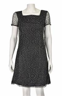 1960s Black Lace with Silver Lurex Party Dress