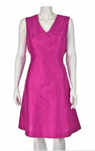 MAX NUGUS HAUTE COUTURE Hot Pink Silk Dress with Shawl