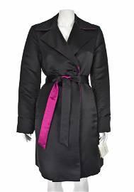 St. John Reversible Black & Magenta Satin Trench Coat