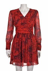BALMAIN Vintage Red & Black Tiger Print Silk Chiffon