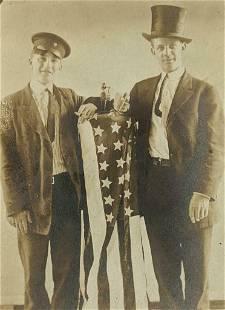 c1930 PATRIOTIC MEN SMOKE CIGAR s w CUTTER ? ON US FLAG