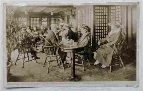 1916 VINTAGE rppc PALM GARDEN VERANDA SS GREAT NORTHERN
