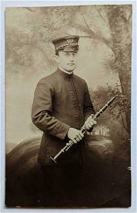 OLD VINTAGE rppc BAND DIRECTOR in UNIFORM w CLARINET