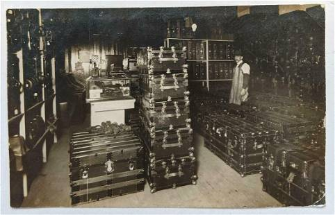 1908 SCARCE STORE ROOM w MULTIPLE ANTIQUE TRUNK s &