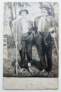 c 1930 OUTDOOR PHOTO POSTCARD, 2 WOMEN CROSS DRESSER in