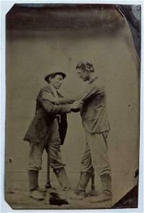 ca. 1880 UNCOMMON NARRATIVE STUDIO PORTRAIT, TWO MEN