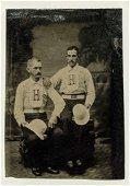 ca. 1870 OCCUPATIONAL PORTRAIT of 2 FIREMEN in UNIFORM