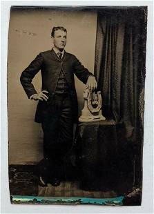 ca. 1890 PORTRAIT of a YOUNG MAN STANDING w HORSESHOE