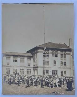 ca. 1922 CARNEGIE TECH STUDENT CLIMBING FLAG POLE