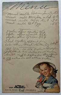 VINTAGE HAND WRITTEN MENU w NESBITT'S ORANGE SODA