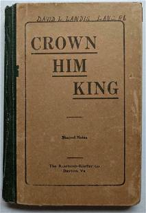ANTIQUE 1914 SHAPE NOTE MUSIC SONG BOOK HYMNAL CROWN