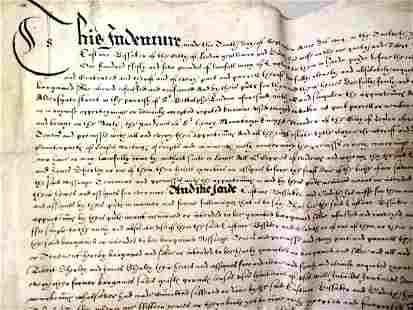 1614 FINE English Vellim Indenture London Aldersgate