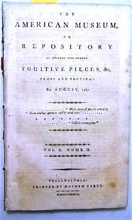 1787 Magazine American Museum Finance