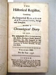 1736 Historical Register Diary Spain Italy War