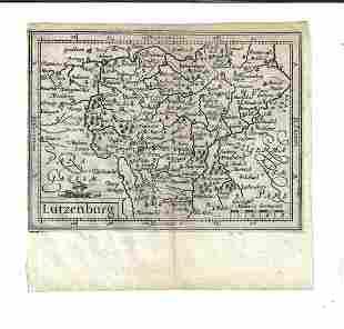 1635 Blaeu Engraved Map of Lutzenburg