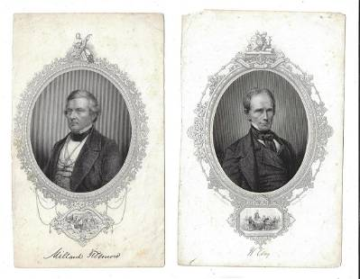 Two 19th C Engravings Millard Fillmore Henry Clay