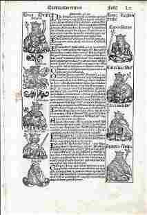 1493 Leaf Nuremburg Chronicles Illustrated