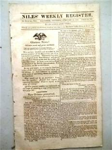 1815 Niles Weekly Treaty War of 1812 New Orleans