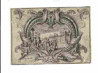 17th C Allegorical Engraved Scene