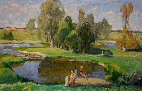 Oil painting Children at the pond