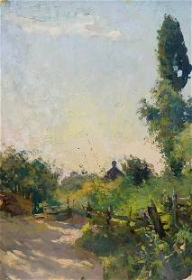 Oil painting With a landscape on a garden