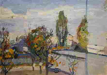 Oil painting Street landscape Gantman Moses Faybovich