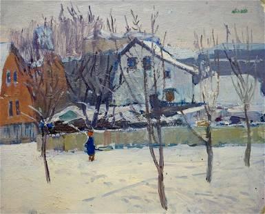 Oil painting Winter landscape Gantman Moses Faybovich