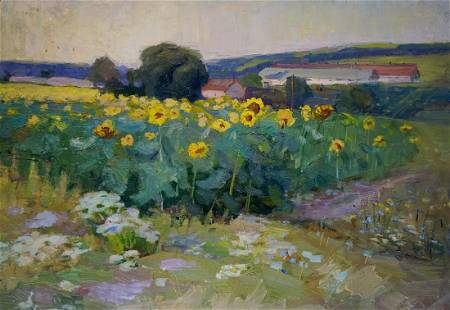 Oil painting Sunflower field
