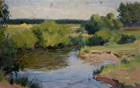 Oil painting Lake landscape Gantman Moses Faybovich