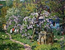 Oil painting Courtyard landscape Konovalov Yuri