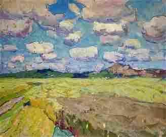 Oil painting Field landscape Kolosovsky Georgy