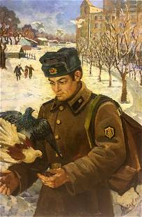 Oil painting Return of the soldier to his homeland