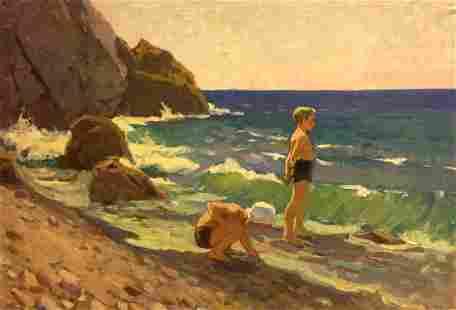 Oil painting Children by the sea Ovsyannikova Evgenia