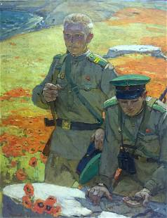 Oil painting At the old bunker Pyotr Ivanovich
