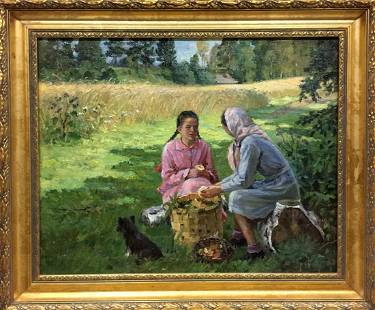 Oil painting Women with mushrooms Yaroviy Stepan