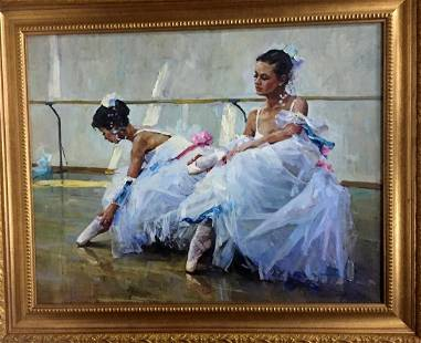 Oil painting Before the performance Shapovalov Anatoly