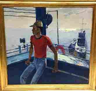 Oil painting Lifeguard on a ship Egor Tolkunov