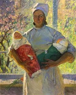 Oil painting Nurse Zhabinsky Leonid Andreevich